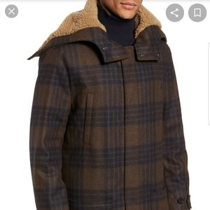 VINCE Plaid Faux Shearling Trim Duffle Coat NWT